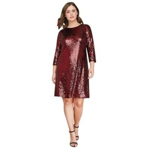 Lane Bryant Red Sequin Mid Shift Dress Size 22